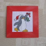 Christmas penguin cross-stitch card