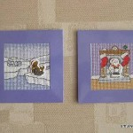Embellished cross stitch cards: igloo and fire place