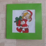 Little Miss Santa cross-stitch card