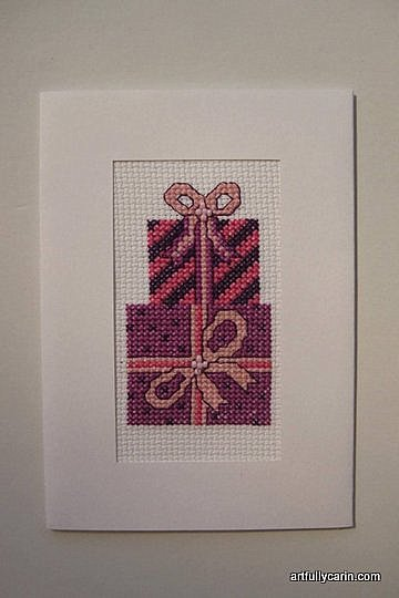 pink present cross-stitch card