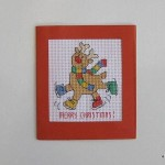 cross-stitch: Christmas reindeer card