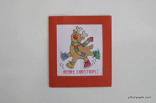 Christmas reindeer cross-stitch card