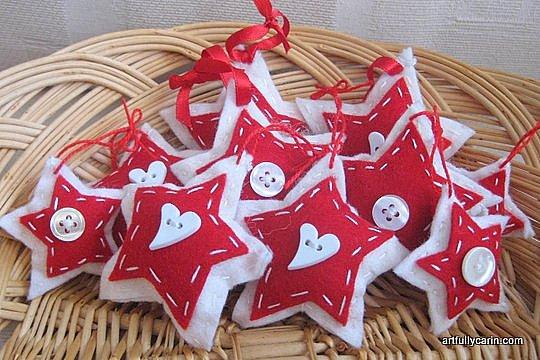 Scandinavian felt star ornaments