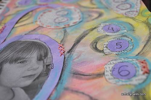 "detail of ""6"" art journal page"