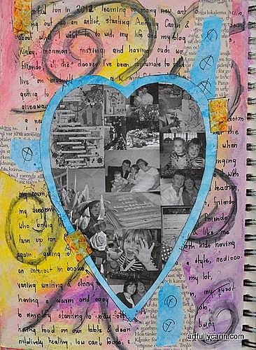 A grateful heart art journal page