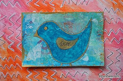 Free mixed media postcard