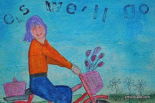 girl on bike art journal page