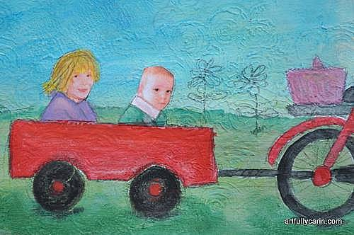 kids in cart mixed media