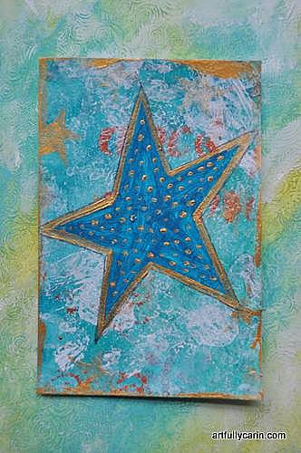 You're a star mixed media postcard