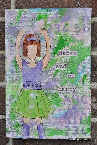 """""""dance and be happy"""" mixed media canvas"""