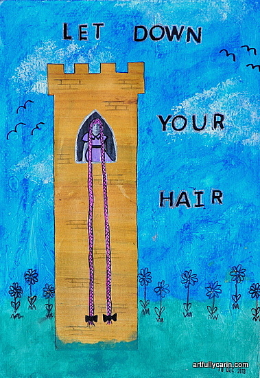 Let down your hair art journal by artfullycarin.com