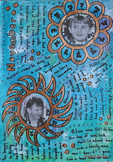 monthly highlights art journal page by Artfully Carin