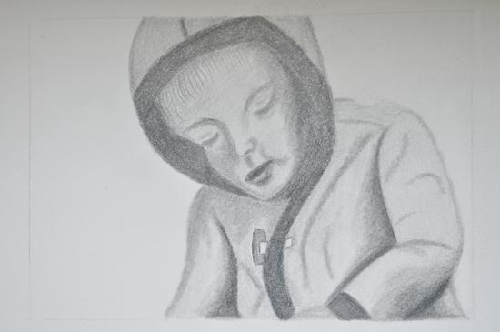 Kirby pencil drawing by Artfully Carin