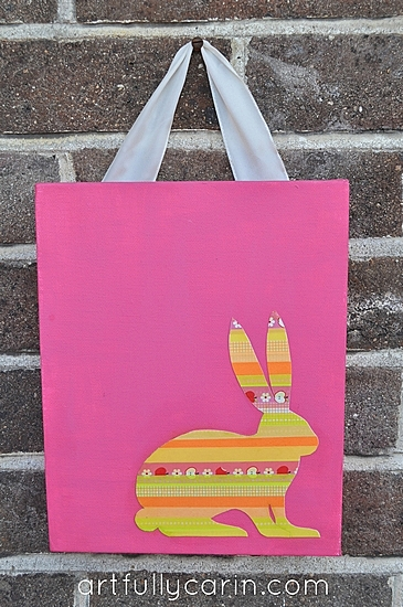 washi tape Easter bunny canvas pink