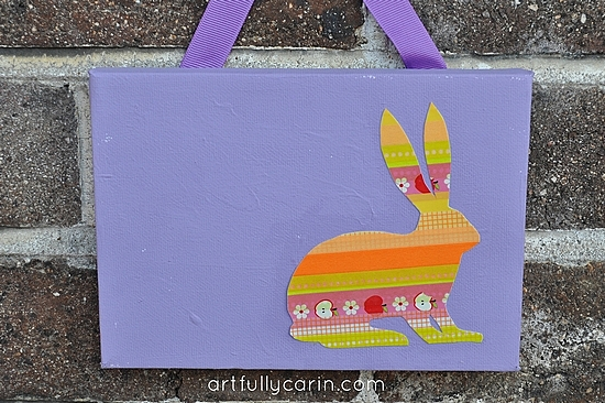 washi tape Easter bunny canvas purple