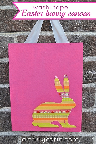 Easter crafts: washi tape easter bunny canvas