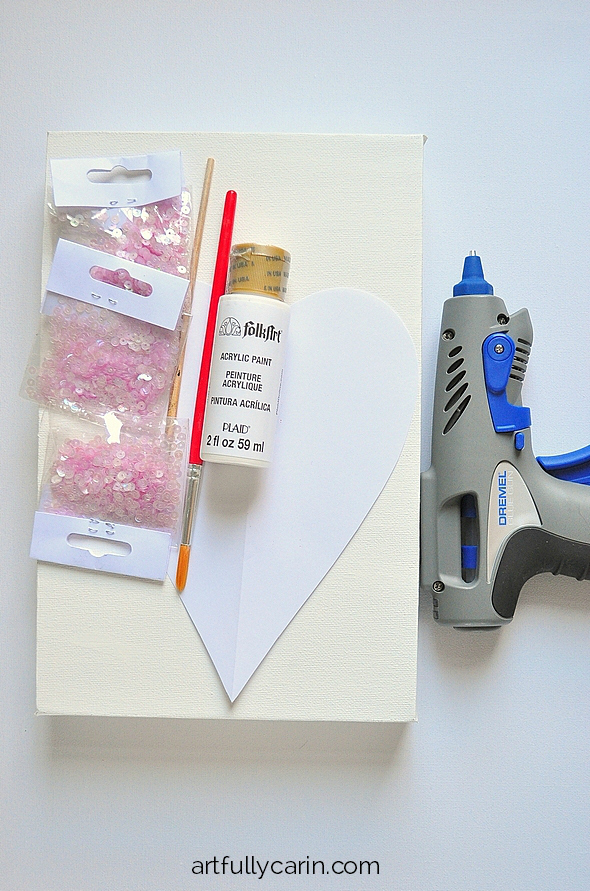 how to make a cute sequin heart canvas