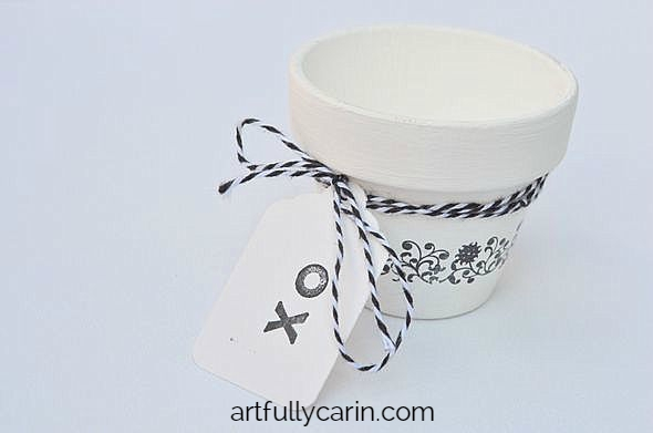 Turn a terracotta post into a cute hostess gift